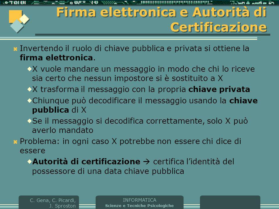 INFORMATICA Scienze e Tecniche Psicologiche C. Gena, C. Picardi, J. Sproston Firma elettronica e Autorità di Certificazione  Invertendo il ruolo di c