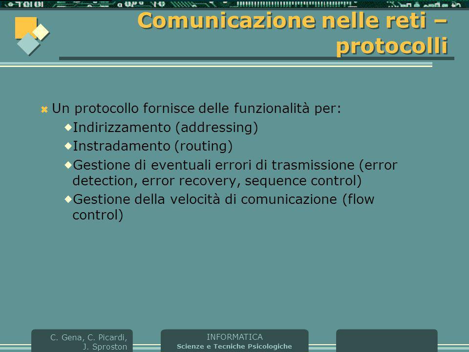 INFORMATICA Scienze e Tecniche Psicologiche C. Gena, C. Picardi, J. Sproston Comunicazione nelle reti – protocolli  Un protocollo fornisce delle funz