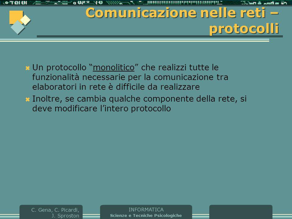 """INFORMATICA Scienze e Tecniche Psicologiche C. Gena, C. Picardi, J. Sproston Comunicazione nelle reti – protocolli  Un protocollo """"monolitico"""" che re"""