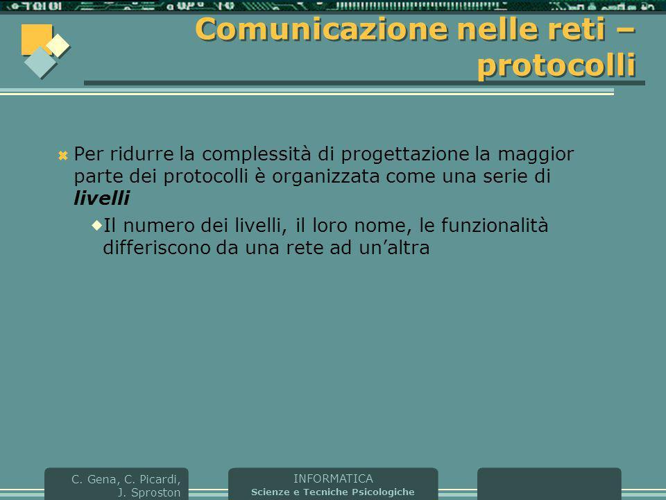 INFORMATICA Scienze e Tecniche Psicologiche C. Gena, C. Picardi, J. Sproston Comunicazione nelle reti – protocolli  Per ridurre la complessità di pro