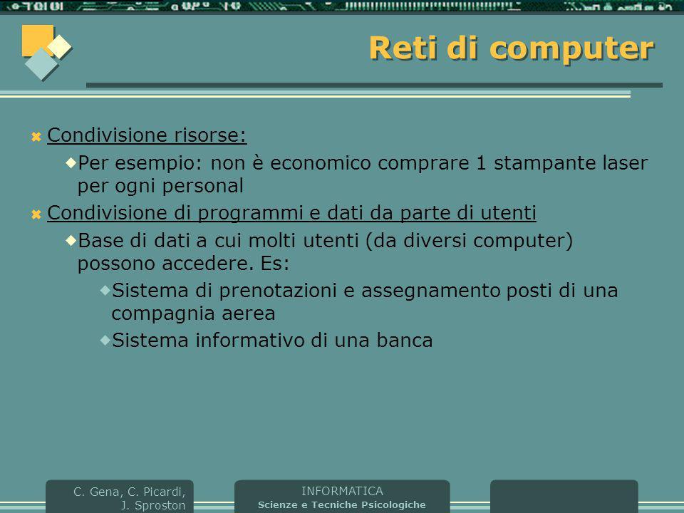 INFORMATICA Scienze e Tecniche Psicologiche C. Gena, C. Picardi, J. Sproston Reti di computer  Condivisione risorse:  Per esempio: non è economico c