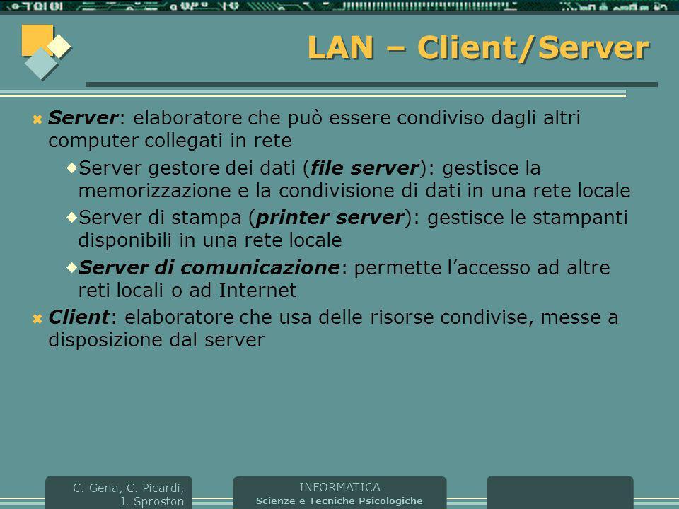 INFORMATICA Scienze e Tecniche Psicologiche C. Gena, C. Picardi, J. Sproston LAN – Client/Server  Server: elaboratore che può essere condiviso dagli