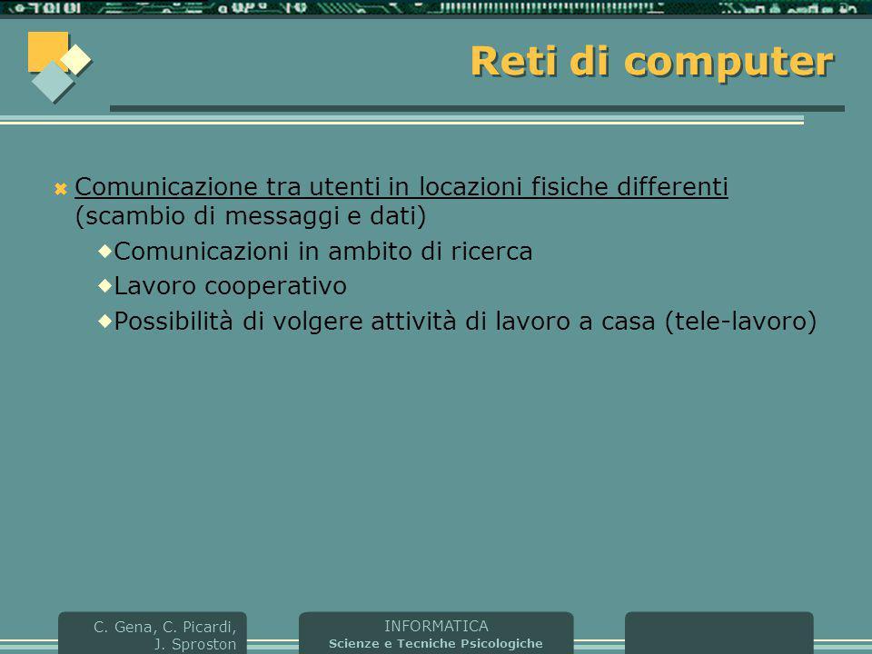 INFORMATICA Scienze e Tecniche Psicologiche C. Gena, C. Picardi, J. Sproston Reti di computer  Comunicazione tra utenti in locazioni fisiche differen
