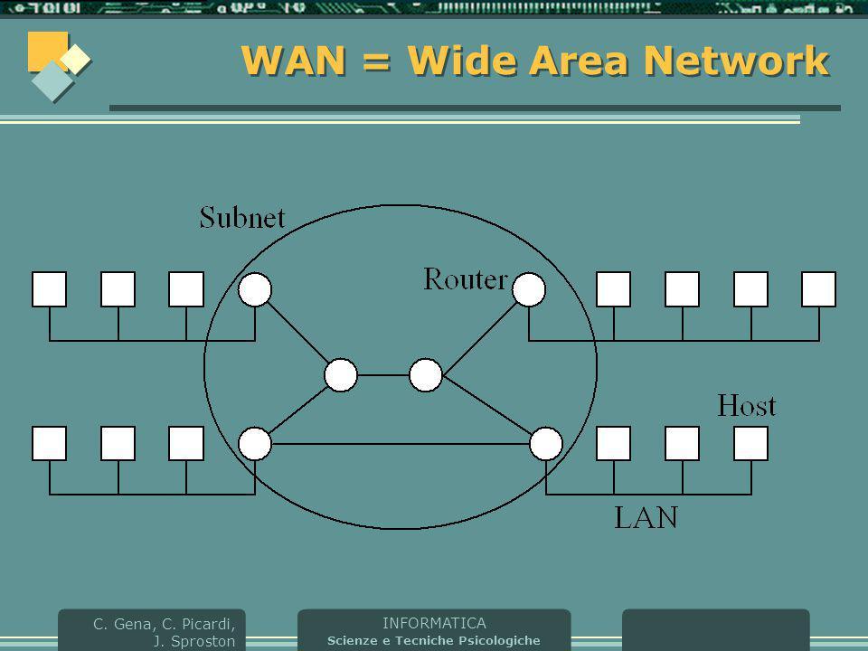 INFORMATICA Scienze e Tecniche Psicologiche C. Gena, C. Picardi, J. Sproston WAN = Wide Area Network
