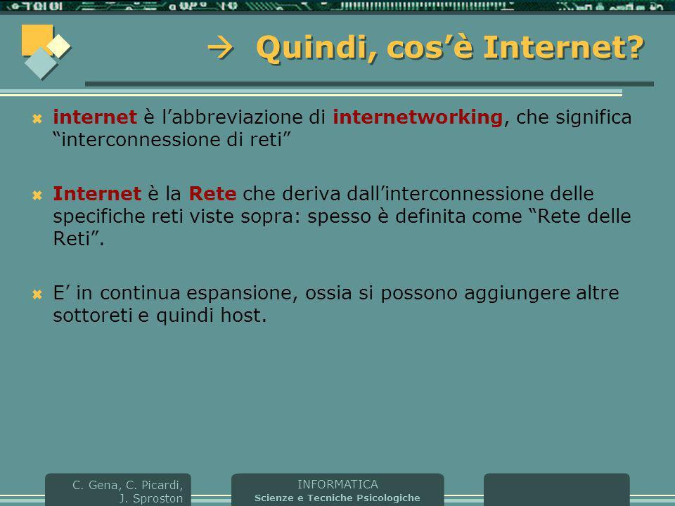 INFORMATICA Scienze e Tecniche Psicologiche C. Gena, C. Picardi, J. Sproston  Quindi, cos'è Internet?  internet è l'abbreviazione di internetworking