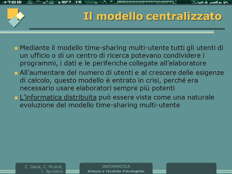 INFORMATICA Scienze e Tecniche Psicologiche C. Gena, C. Picardi, J. Sproston Il modello centralizzato  Mediante il modello time-sharing multi-utente