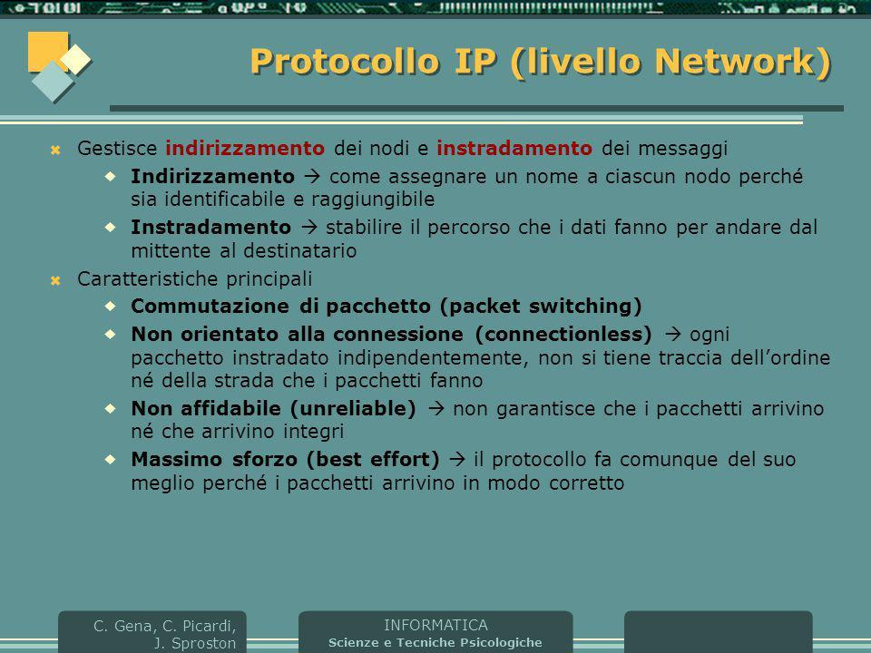INFORMATICA Scienze e Tecniche Psicologiche C. Gena, C. Picardi, J. Sproston Protocollo IP (livello Network)  Gestisce indirizzamento dei nodi e inst