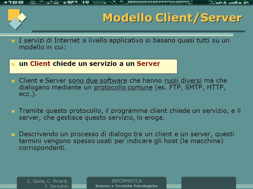 INFORMATICA Scienze e Tecniche Psicologiche C. Gena, C. Picardi, J. Sproston Modello Client/Server  I servizi di Internet a livello applicativo si ba