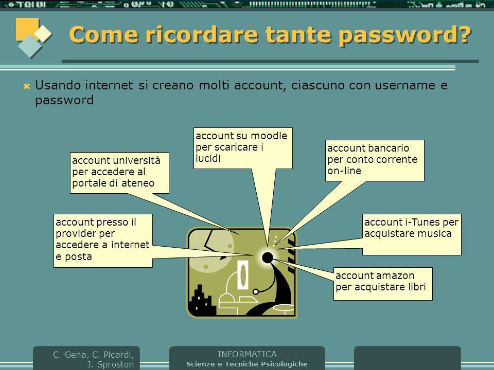 INFORMATICA Scienze e Tecniche Psicologiche C. Gena, C. Picardi, J. Sproston Come ricordare tante password?  Usando internet si creano molti account,