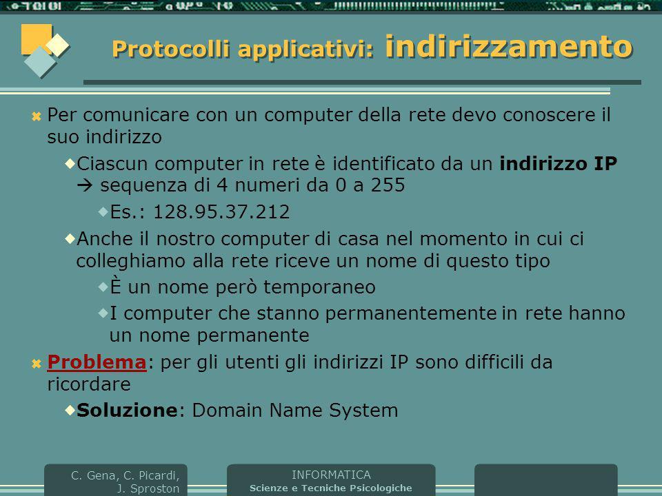 INFORMATICA Scienze e Tecniche Psicologiche C. Gena, C. Picardi, J. Sproston Protocolli applicativi: indirizzamento  Per comunicare con un computer d