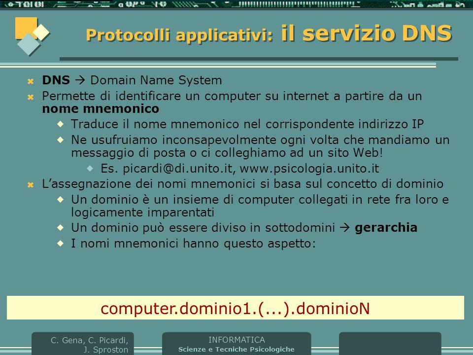 INFORMATICA Scienze e Tecniche Psicologiche C. Gena, C. Picardi, J. Sproston Protocolli applicativi: il servizio DNS  DNS  Domain Name System  Perm