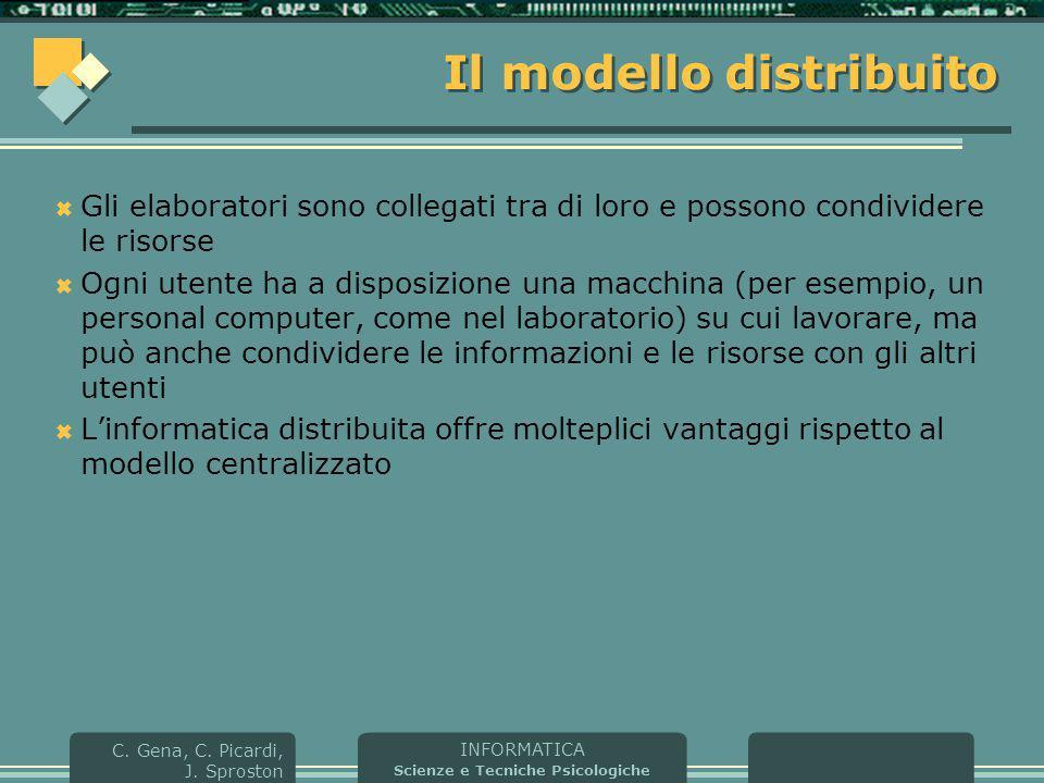 INFORMATICA Scienze e Tecniche Psicologiche C. Gena, C. Picardi, J. Sproston Il modello distribuito  Gli elaboratori sono collegati tra di loro e pos