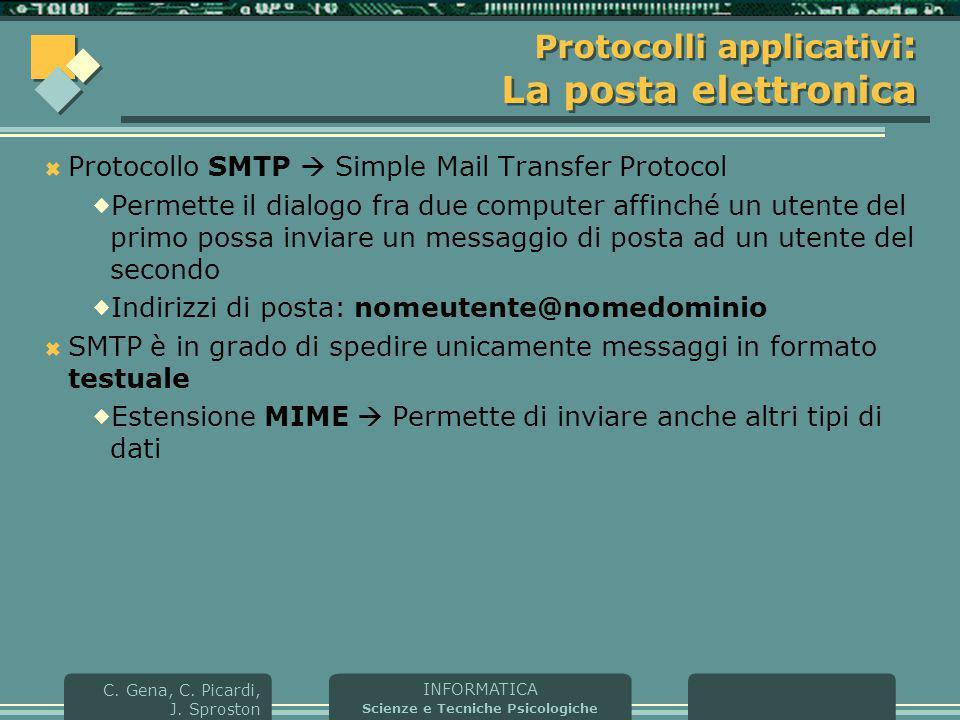 INFORMATICA Scienze e Tecniche Psicologiche C. Gena, C. Picardi, J. Sproston Protocolli applicativi : La posta elettronica  Protocollo SMTP  Simple