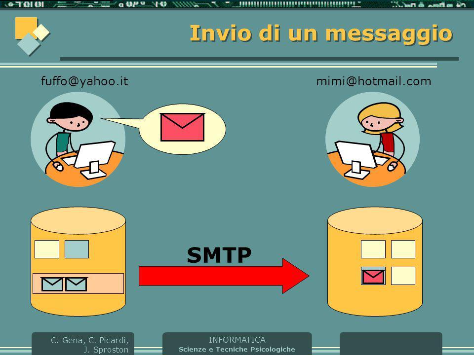 INFORMATICA Scienze e Tecniche Psicologiche C. Gena, C. Picardi, J. Sproston Invio di un messaggio fuffo@yahoo.itmimi@hotmail.com SMTP