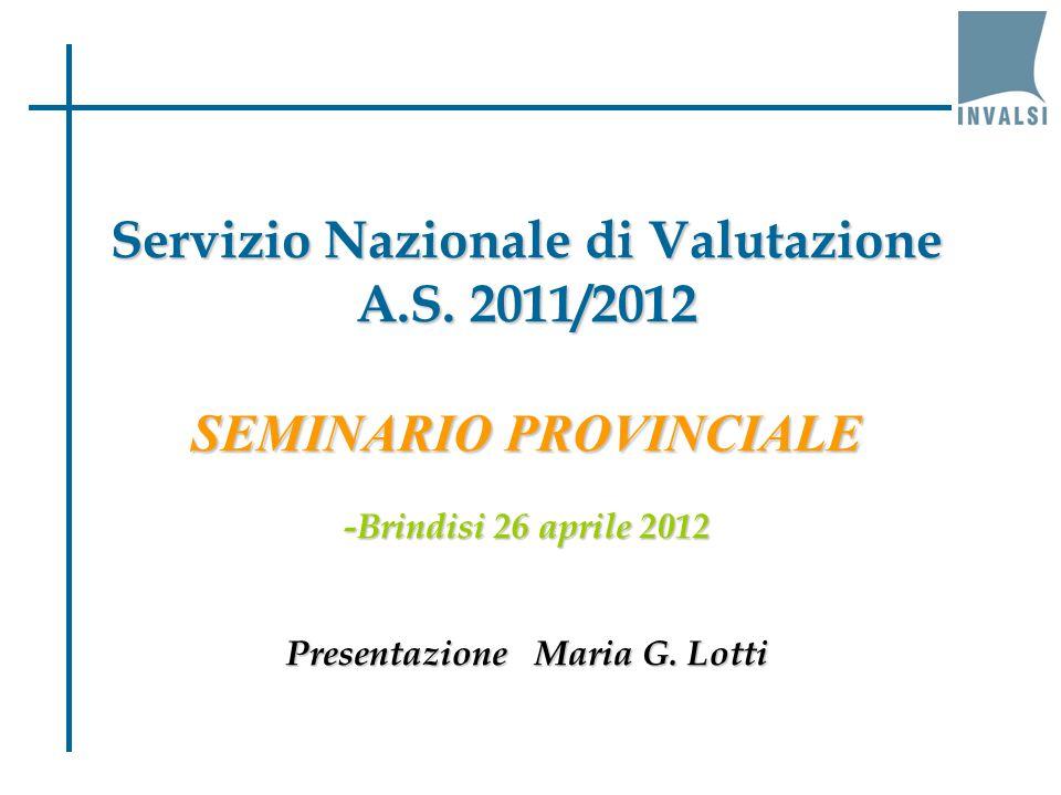 Servizio Nazionale di Valutazione A.S. 2011/2012 SEMINARIO PROVINCIALE -Brindisi 26 aprile 2012 Presentazione Maria G. Lotti