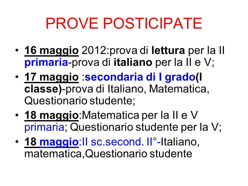 PROVE POSTICIPATE 16 maggio 2012:prova di lettura per la II primaria-prova di italiano per la II e V; 17 maggio :secondaria di I grado(I classe)-prova