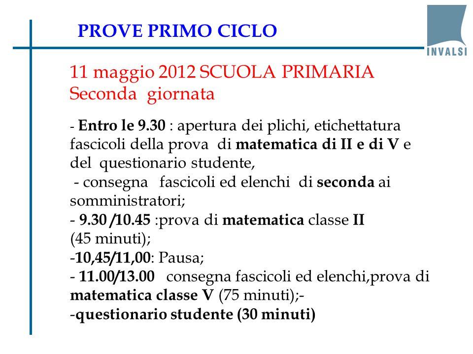 10 maggio 2012-SCUOLA secondaria I grado - Entro le 9.30 : apertura dei plichi, etichettatura fascicoli, consegna fascicoli ed elenchi ai somministratori; - 9.30 /11.00 : prova di ITALIANO (75 minuti effettivi); - 11.00/11.15 :pausa ; - 11.15/13.15 :prova di MATEMATICA (75 minuti); - questionario studente (30 minuti) PROVE PRIMO CICLO