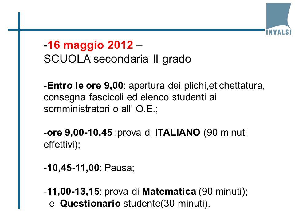 -16 maggio 2012 – SCUOLA secondaria II grado -Entro le ore 9,00: apertura dei plichi,etichettatura, consegna fascicoli ed elenco studenti ai somminist