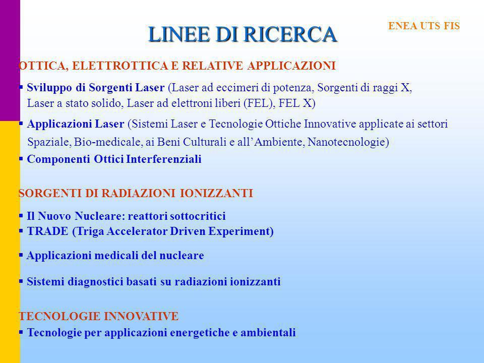LINEE DI RICERCA OTTICA, ELETTROTTICA E RELATIVE APPLICAZIONI  Sviluppo di Sorgenti Laser (Laser ad eccimeri di potenza, Sorgenti di raggi X, Laser a stato solido, Laser ad elettroni liberi (FEL), FEL X)  Applicazioni Laser (Sistemi Laser e Tecnologie Ottiche Innovative applicate ai settori Spaziale, Bio-medicale, ai Beni Culturali e all'Ambiente, Nanotecnologie)  Componenti Ottici Interferenziali SORGENTI DI RADIAZIONI IONIZZANTI  Il Nuovo Nucleare: reattori sottocritici  TRADE (Triga Accelerator Driven Experiment)  Applicazioni medicali del nucleare  Sistemi diagnostici basati su radiazioni ionizzanti TECNOLOGIE INNOVATIVE  Tecnologie per applicazioni energetiche e ambientali ENEA UTS FIS