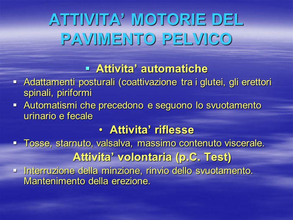 ATTIVITA' MOTORIE DEL PAVIMENTO PELVICO  Attivita' automatiche  Adattamenti posturali (coattivazione tra i glutei, gli erettori spinali, piriformi 
