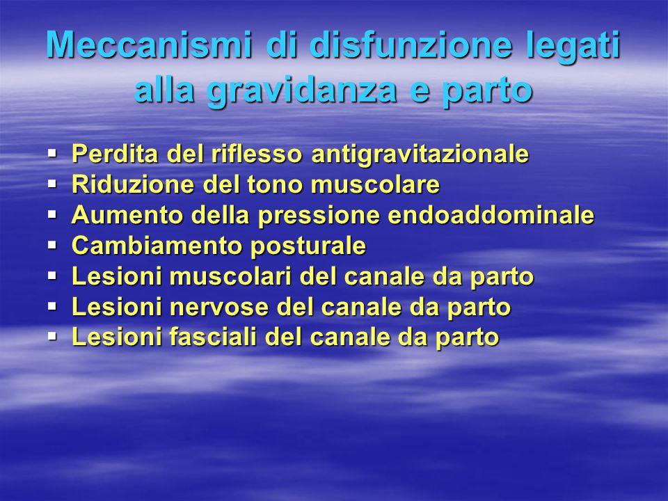 Meccanismi di disfunzione legati alla gravidanza e parto  Perdita del riflesso antigravitazionale  Riduzione del tono muscolare  Aumento della pres