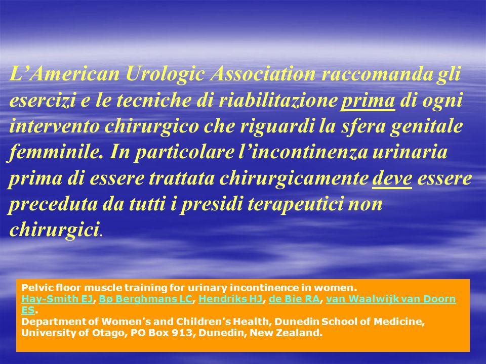 L'American Urologic Association raccomanda gli esercizi e le tecniche di riabilitazione prima di ogni intervento chirurgico che riguardi la sfera geni