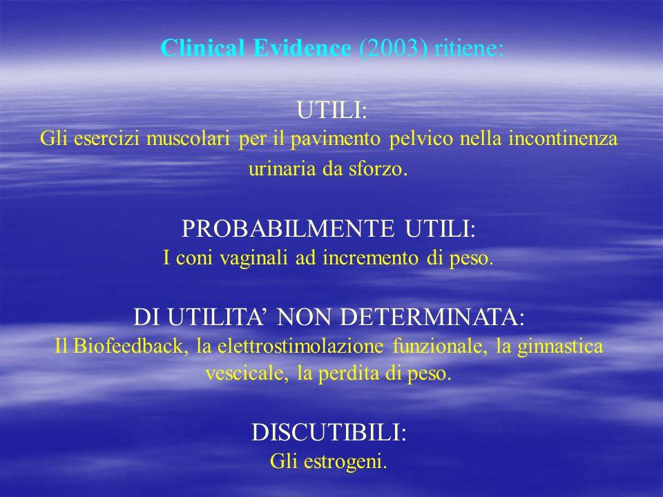 Clinical Evidence (2003) ritiene: UTILI: Gli esercizi muscolari per il pavimento pelvico nella incontinenza urinaria da sforzo. PROBABILMENTE UTILI: I