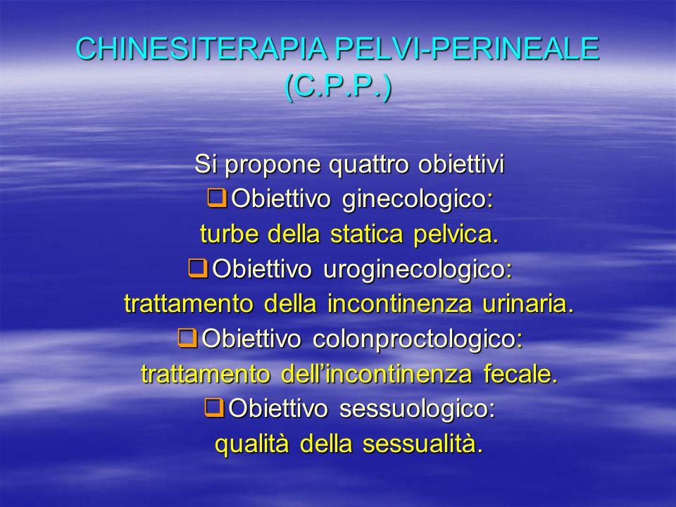 CHINESITERAPIA PELVI-PERINEALE (C.P.P.) Si propone quattro obiettivi  Obiettivo ginecologico: turbe della statica pelvica.  Obiettivo uroginecologic