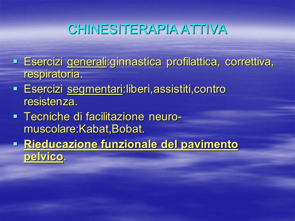 CHINESITERAPIA ATTIVA  Esercizi generali:ginnastica profilattica, correttiva, respiratoria.  Esercizi segmentari:liberi,assistiti,contro resistenza.