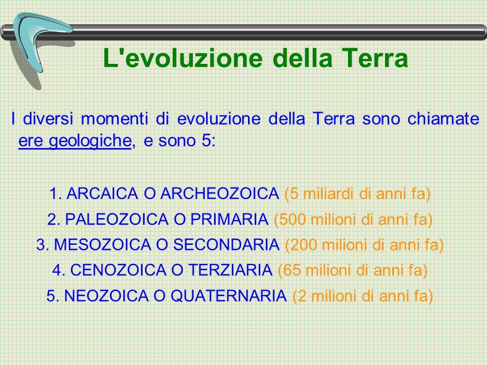 L evoluzione della Terra I diversi momenti di evoluzione della Terra sono chiamate ere geologiche, e sono 5: 1.