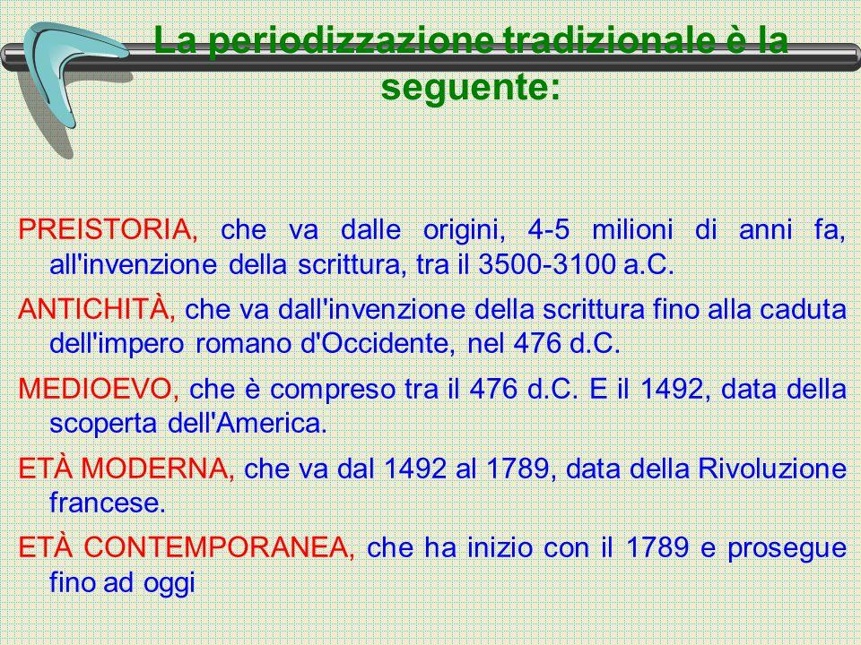 La periodizzazione tradizionale è la seguente: PREISTORIA, che va dalle origini, 4-5 milioni di anni fa, all invenzione della scrittura, tra il 3500-3100 a.C.