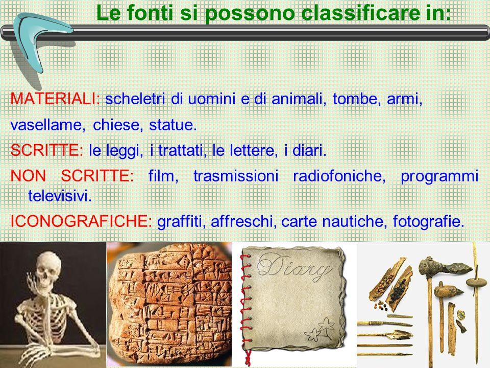Le fonti si possono classificare in: MATERIALI: scheletri di uomini e di animali, tombe, armi, vasellame, chiese, statue.