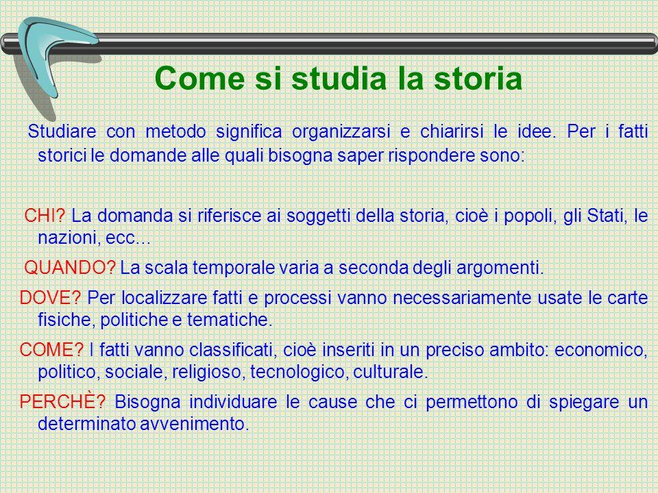 Come si studia la storia Studiare con metodo significa organizzarsi e chiarirsi le idee.