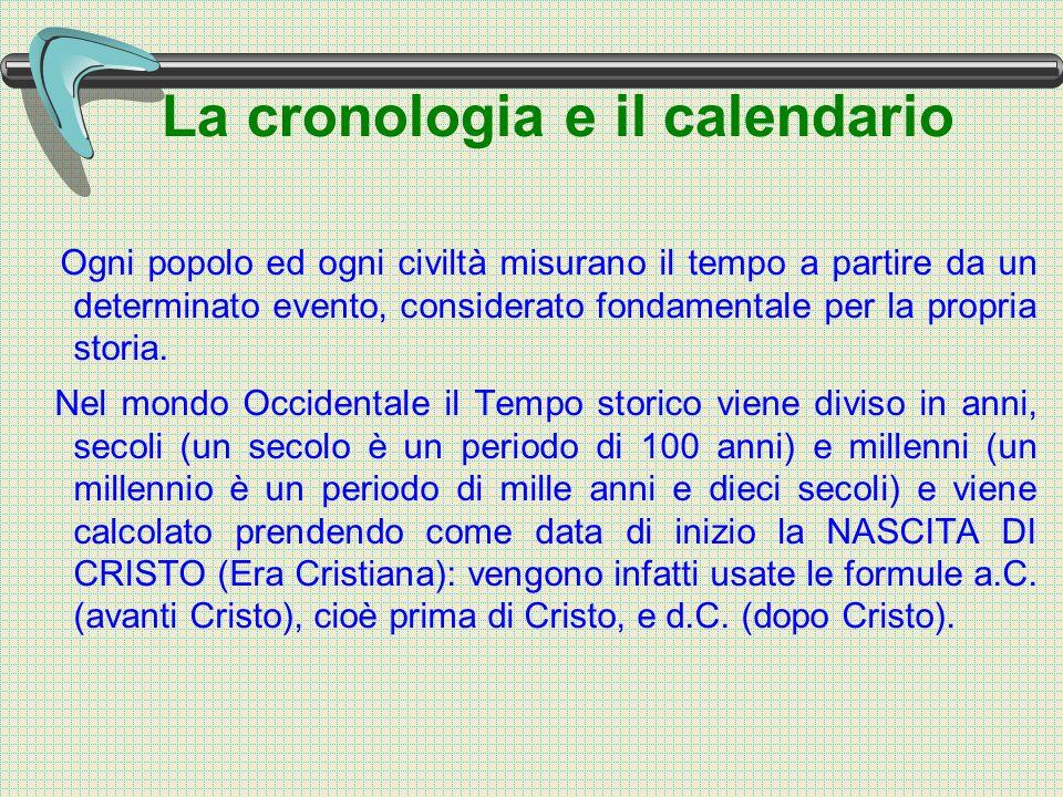 La cronologia e il calendario Ogni popolo ed ogni civiltà misurano il tempo a partire da un determinato evento, considerato fondamentale per la propria storia.