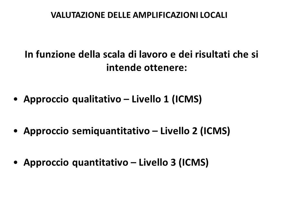 In funzione della scala di lavoro e dei risultati che si intende ottenere: Approccio qualitativo – Livello 1 (ICMS) Approccio semiquantitativo – Livello 2 (ICMS) Approccio quantitativo – Livello 3 (ICMS) VALUTAZIONE DELLE AMPLIFICAZIONI LOCALI