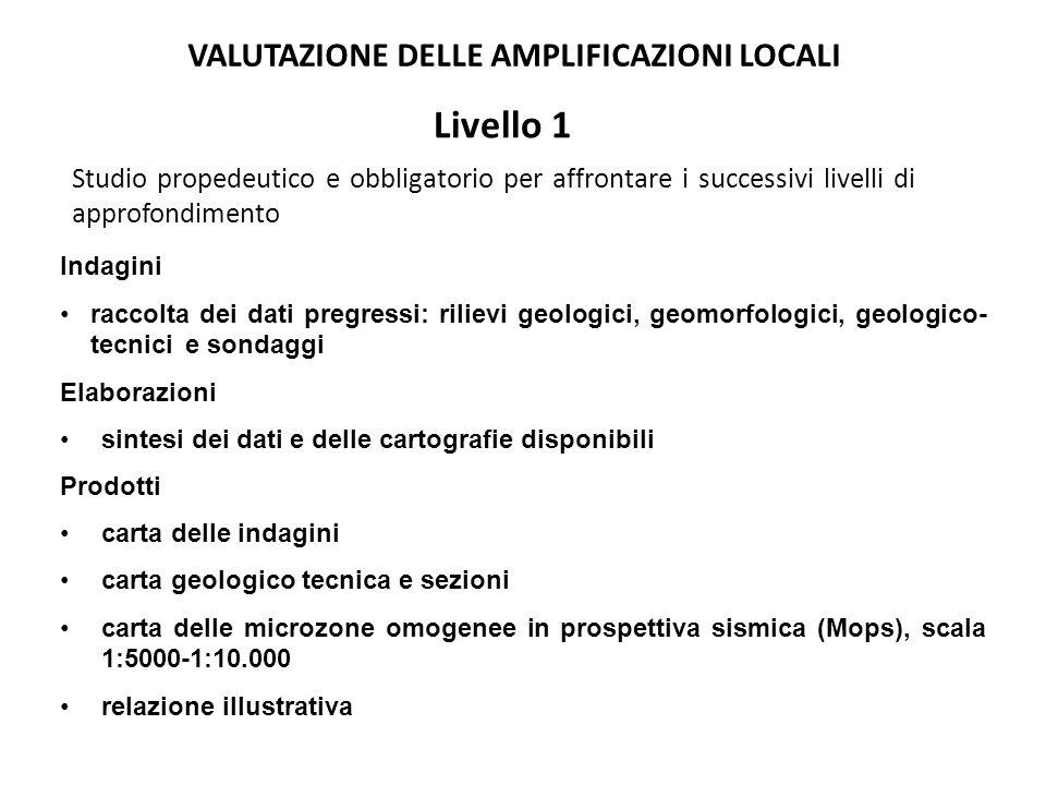 Livello 1 Studio propedeutico e obbligatorio per affrontare i successivi livelli di approfondimento Indagini raccolta dei dati pregressi: rilievi geologici, geomorfologici, geologico- tecnici e sondaggi Elaborazioni sintesi dei dati e delle cartografie disponibili Prodotti carta delle indagini carta geologico tecnica e sezioni carta delle microzone omogenee in prospettiva sismica (Mops), scala 1:5000-1:10.000 relazione illustrativa VALUTAZIONE DELLE AMPLIFICAZIONI LOCALI