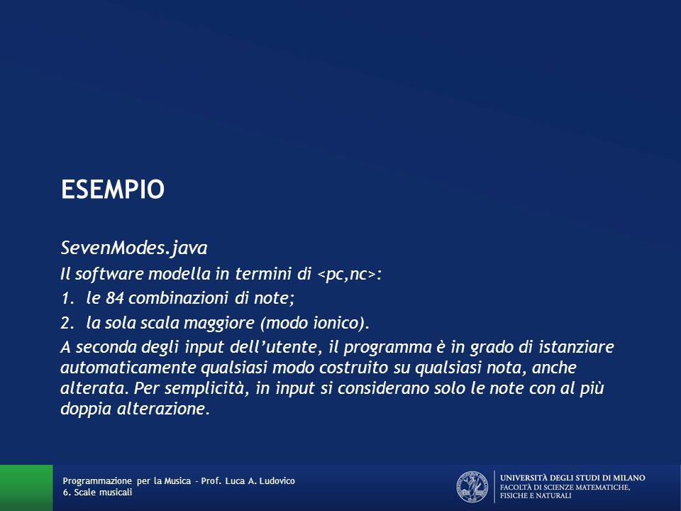 ESEMPIO SevenModes.java Il software modella in termini di : 1.le 84 combinazioni di note; 2.la sola scala maggiore (modo ionico). A seconda degli inpu