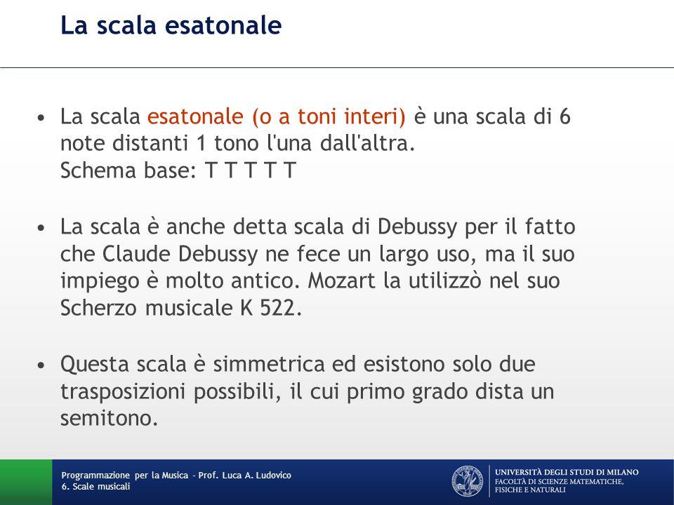 La scala esatonale La scala esatonale (o a toni interi) è una scala di 6 note distanti 1 tono l'una dall'altra. Schema base: T T T T T La scala è anch