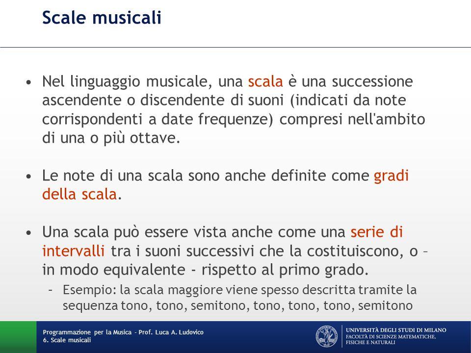 Scale musicali Nel linguaggio musicale, una scala è una successione ascendente o discendente di suoni (indicati da note corrispondenti a date frequenz