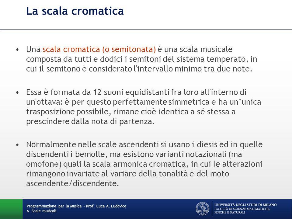 La scala cromatica Una scala cromatica (o semitonata) è una scala musicale composta da tutti e dodici i semitoni del sistema temperato, in cui il semi