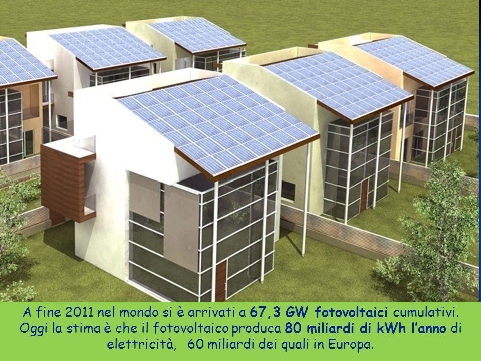 33ENEA - educarsi al futuro A fine 2011 nel mondo si è arrivati a 67,3 GW fotovoltaici cumulativi. Oggi la stima è che il fotovoltaico produca 80 mili