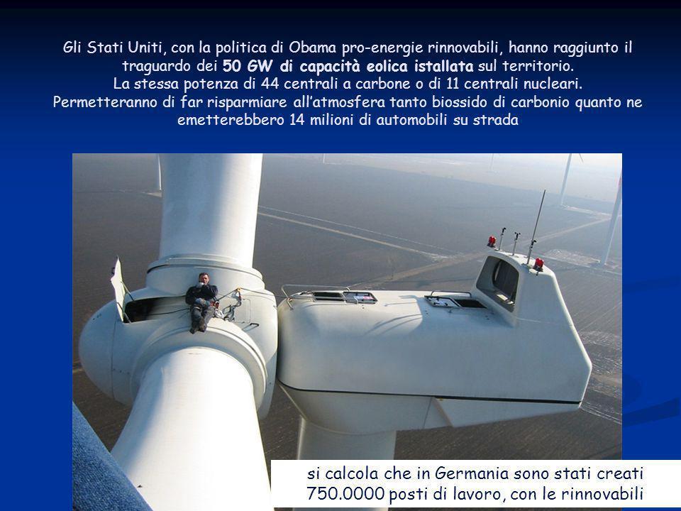 Energia dal vento 36 ENEA - educarsi al futuro Gli Stati Uniti, con la politica di Obama pro-energie rinnovabili, hanno raggiunto il traguardo dei 50 GW di capacità eolica istallata sul territorio.