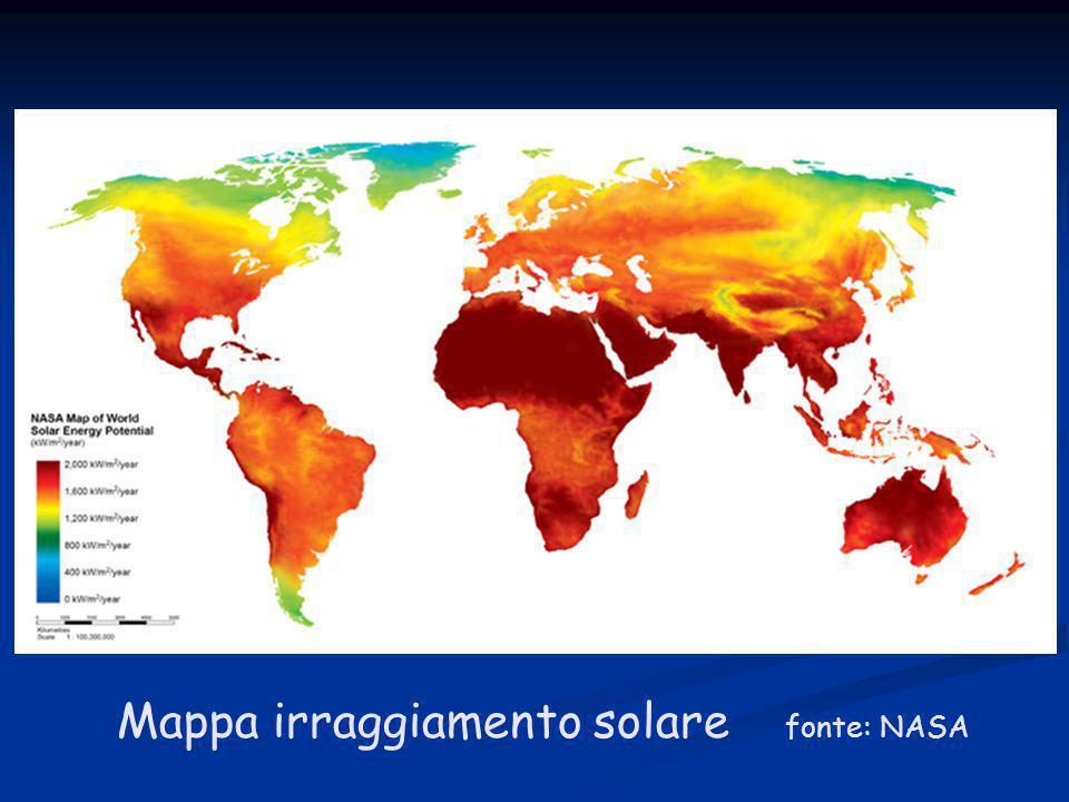 Mappa irraggiamento solare fonte: NASA
