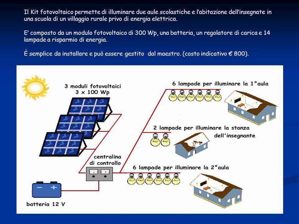 Il Kit fotovoltaico permette di illuminare due aule scolastiche e l'abitazione dell'insegnate in una scuola di un villaggio rurale privo di energia el