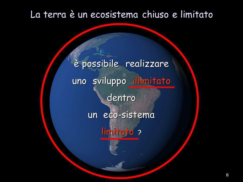 La terra è un ecosistema chiuso e limitato 6 è possibile realizzare uno sviluppo illimitato dentro un eco-sistema limitato ?