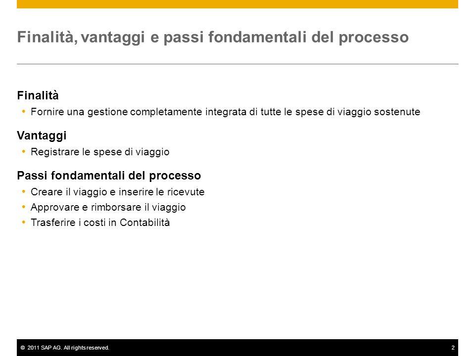 ©2011 SAP AG. All rights reserved.2 Finalità, vantaggi e passi fondamentali del processo Finalità  Fornire una gestione completamente integrata di tu