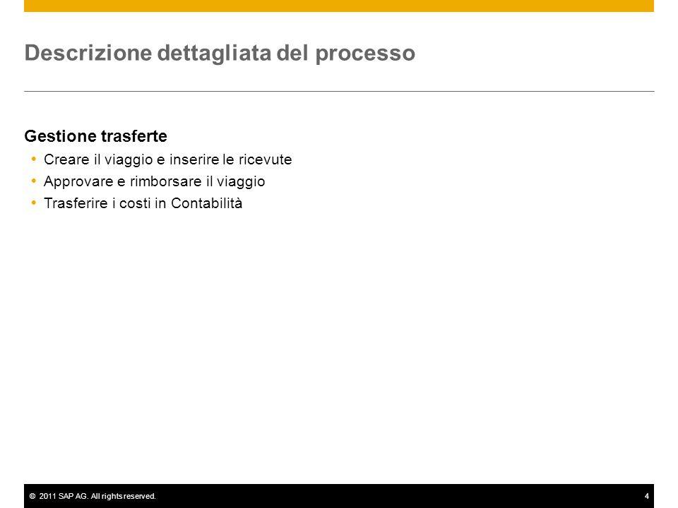 ©2011 SAP AG. All rights reserved.4 Descrizione dettagliata del processo Gestione trasferte  Creare il viaggio e inserire le ricevute  Approvare e r