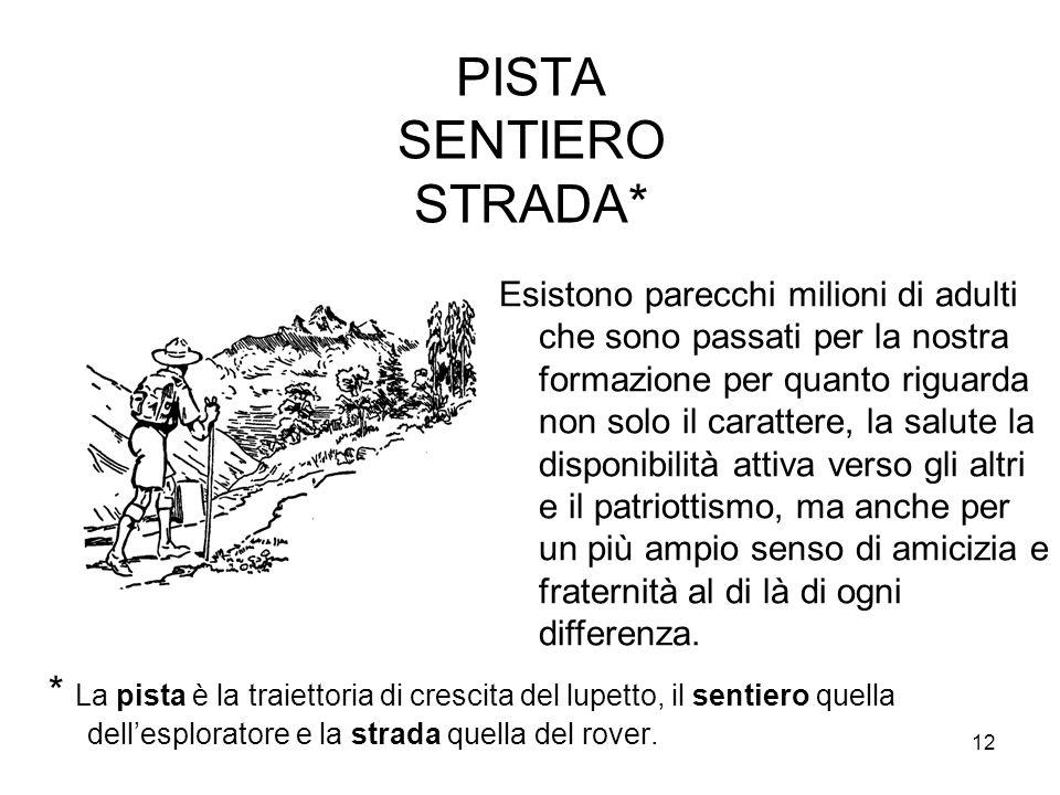 12 PISTA SENTIERO STRADA* * La pista è la traiettoria di crescita del lupetto, il sentiero quella dell'esploratore e la strada quella del rover. Esist