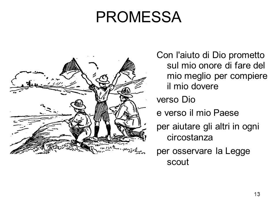 13 PROMESSA Con l'aiuto di Dio prometto sul mio onore di fare del mio meglio per compiere il mio dovere verso Dio e verso il mio Paese per aiutare gli