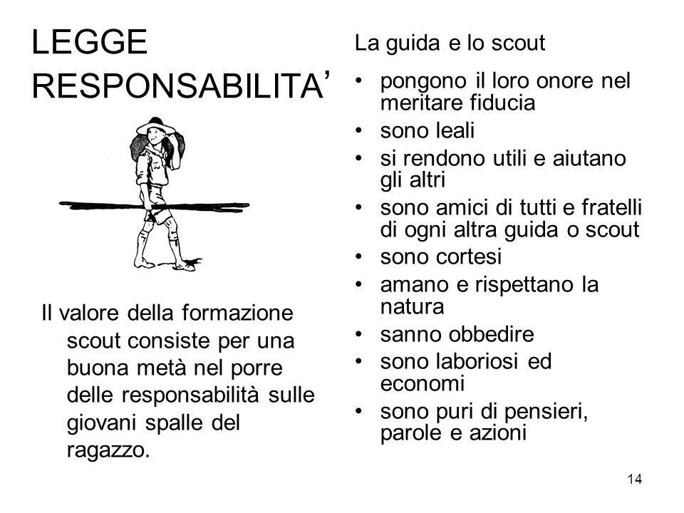 14 LEGGE RESPONSABILITA ' Il valore della formazione scout consiste per una buona metà nel porre delle responsabilità sulle giovani spalle del ragazzo